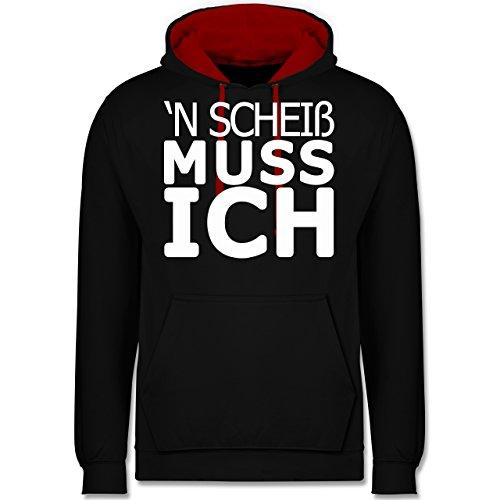Statement Shirts - 'N Scheiß muss ich - Kontrast Hoodie Schwarz/Rot