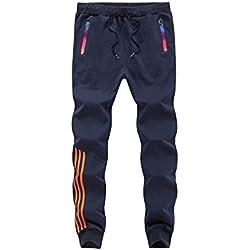 Manluodanni Homme Pantalons Casual Slim Fit Pantalons de Sport Jogging Long Pants de Survêtement en Polyeste et Coton Bleu L