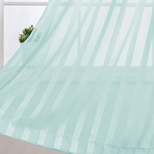 Gestreifte Vorhang für Wohnzimmer, Lichtfilterung, Schlafzimmer, durchscheinende Fenstervorhänge, 213,4 cm Länge, Vorhänge, Ösen, 2 Paneel, Türkis -