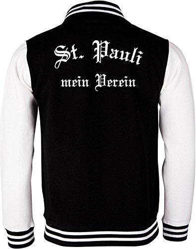College Jacken / Baseball-Jacken bedrucken lassen St. Pauli Mein Verein Schwarz Weiß