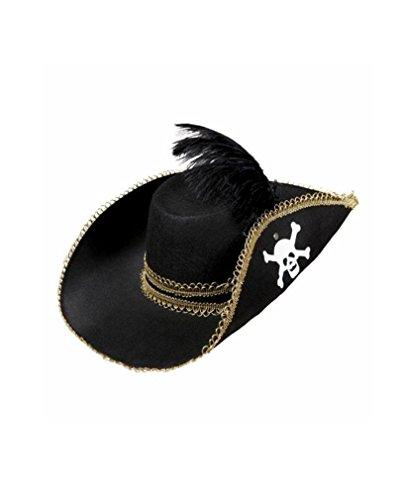 Cappello Pirata con Teschio e Feather