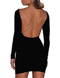 6ced189e5 DEELIN Womens Sexy Long Sleeve O-Neck Blackless Shiny Bodycon Dress Solid  Ladie Night Club