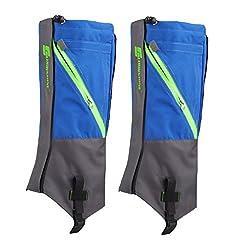Generic 1 Pair Waterproof Snow Legging Boot Gaiters Leg Covers Rugged Outdoor Walking Hiking Climbing - Deep Blue Grey