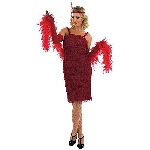 Fancy Me - Damen Kostüm Schwarz 1920er 30er Flapper Charleston Großer Gatsby Fransen Quasten Modische Verkleidung Outfit Übergröße - Rot, EU 52-54 (Quasten Modische)