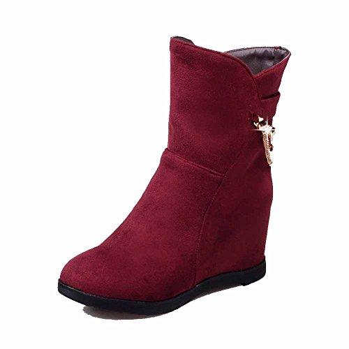 VogueZone009 Damen Hoher Absatz Kette Rund Zehe PU Leder Reißverschluss Stiefel, Rot, 35