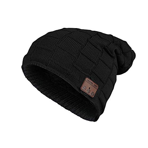Mystery bluetooth beanie cappello cappello musicale con cuffie senza fili, microfono, cuffia esterna lavabile da lavoro invernale cappello per uomo/donna unisex, colore nero, taglia unica (b)