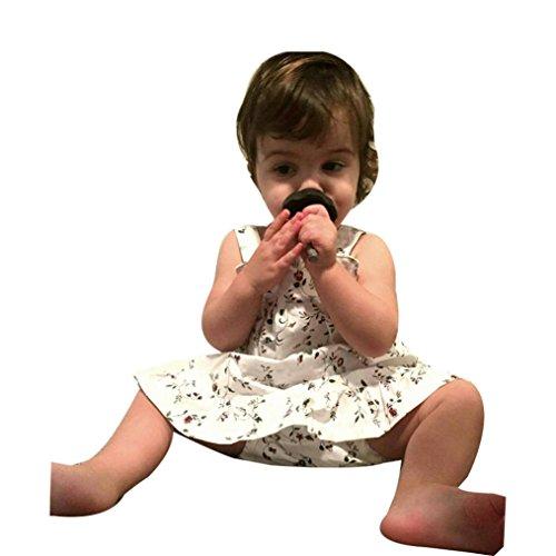Druck-knie-länge-kleid (Malloom® Neugeborenen Baby Mädchen Blumen Rüschen Prinzessin Party Ärmel loses Knie-Länge A-Linie Kleid Shorts Shorts mit Blumen Druck baumwolle (weiß, 80))
