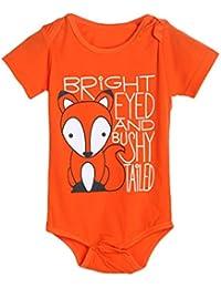 webla bebé niños niñas Fox Letter Print Romper Jumpsuit