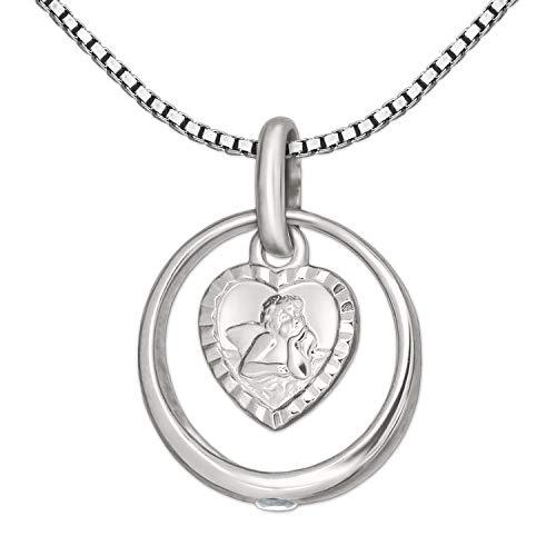 CLEVER SCHMUCK Set Silberner Taufring Ø 12 mm mit Einem Zirkonia weiß innen Engel herzförmig und Kette Venezia 38 cm Sterling Silber 925