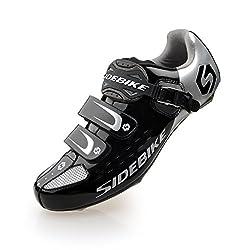 Herren/Mann Professionelle Radschuhe Rennrad Fahrradschuhe (SD-001 Silber / Schwarz, EU 46/Ft 29cm) (Wählen Sie eine Größe mehr als üblich)