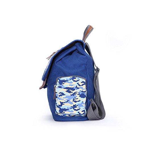 Eshow Damen Canvas Freizeit Alltag Wochenende Reise Sport Outdoor Rucksack Tasche Blau