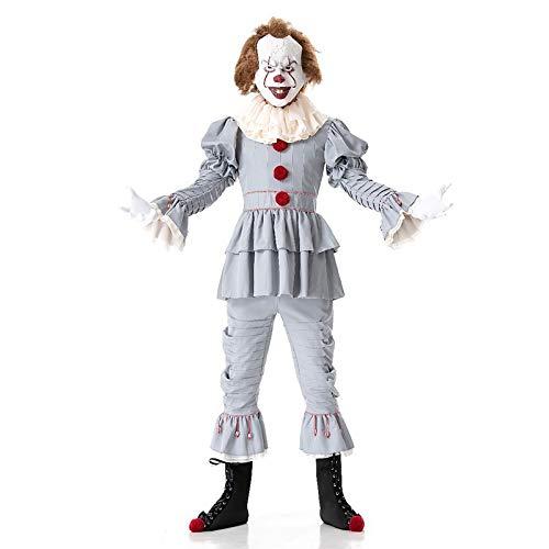 Kostüm Damen Clown Scary - ZYJT Halloween Dame Halloween Erwachsene Männer Scary Kostüm Killer Horror Clown Halloween Kostüm Party Dekoration (Color : A, Size : L)