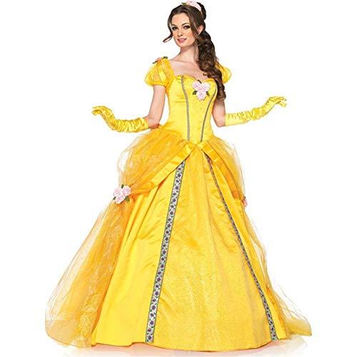 ne Schönheit und das Biest Bell Schneewittchen Abendkleid Europa und Amerika Frauen Halloween Kostüm Cosplay (Color : Yellow, Size : XXL) ()