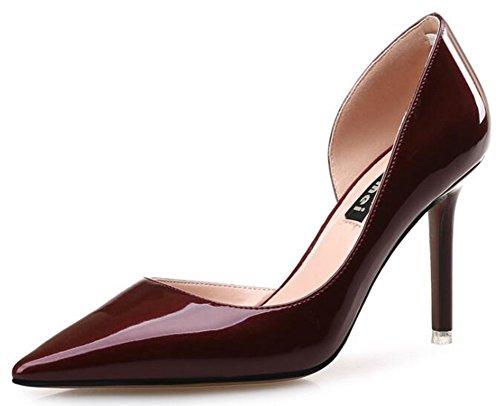 Aisun Women's Sexy Mid Kitten Heels Pointed Toe D-Orsay Court Shoes (Wine...