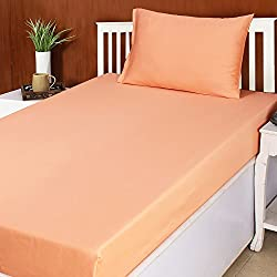 House This House This Decemblem Cotton Single Bed Sheet & 1 Pillow Cover-Orange