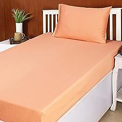 House This House This Decemblem Cotton Single Bed Sheet & 1 Pillow Cover-Orange