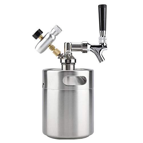 Tan Mini Beer Keg, Druckknurrer Für Craft Beer Dispenser System, CO2-Regulierbarer Fassbierhahn Mit Perfektem Gießregler,3.6L -