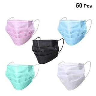 SUPVOX Mundschutz Einweg Aktivkohle Drei Schichten Staubdicht Gesichtsmasken Mund Maske mit Elastikband 50 Stück