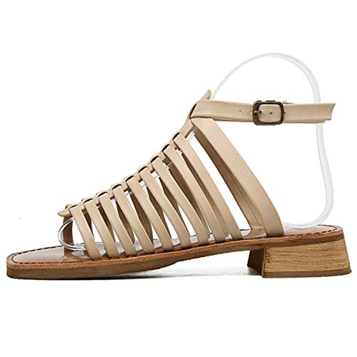 Azbro Women's Open Toe Buckle Strap Low Heels Gladiator Sandals Apricot