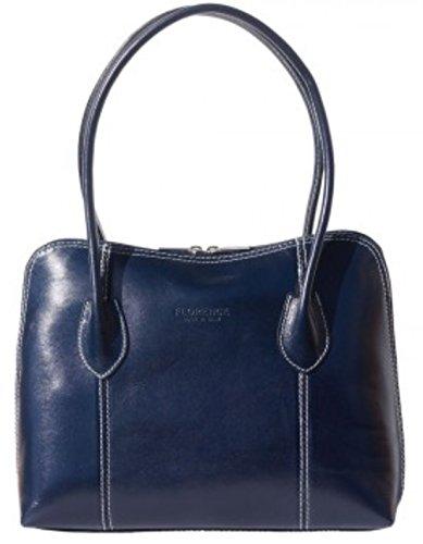 SUPERFLYBAGS Damentasche Schultertasche Echtes Leder Modell Nice Made In Italy Dunkel Blau