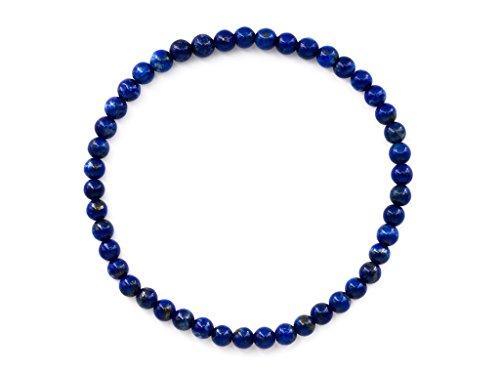 Taddart Minerals - Blaues Armband aus dem natürlichen Edelstein Lapislazuli mit 3 mm Kugeln auf elastischem Nylonfaden aufgezogen - handgefertigt