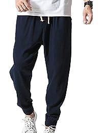 Aden Pantalones Hombre Verano Suaves Transpirables Pantalones de Lino  Sueltos con Cordón Pantalones Largos Pantalones d58bf200514d