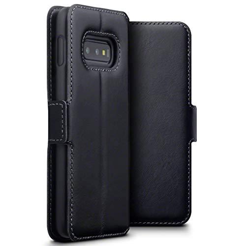 TERRAPIN, Kompatibel mit Samsung Galaxy S10e Hülle, Premium ECHT Spaltleder Flip Handyhülle Galaxy S10e / Galaxy S10 Lite Tasche Schutzhülle - Schwarz