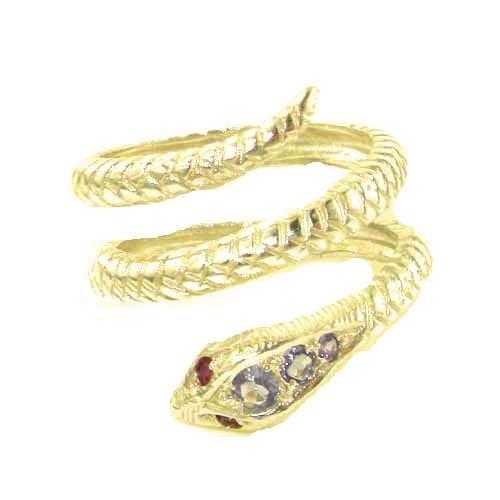 Herrlicher Damen-Ring Schlange solide 9 Karat Gold Gelbgold Tansanit Rubin - Verfügbare Größen : 50 bis 64 (Tansanit-ring Größe 9)