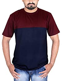 Fabious Half Sleeve Round Neck Stylish Men's Cotton T-Shirt In Solid Maroon & Navy Blue Color.