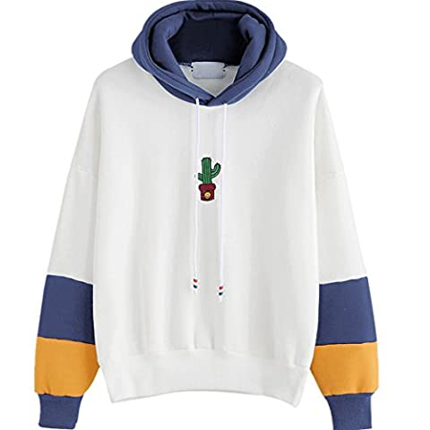Reaso Femmes Sweat à capuche Casual Pull Manche longue Hoodie Sweatshirt Cactus Impression Hooded Pullover Tops Blouse (S, Bleu)
