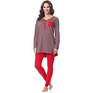 Be-Mammy-Premam-Pijama-Conjunto-Camiseta-y-Leggins-Embarazo-Lactancia-Maternidad-Vestidos-de-Cama-Mujer-BE20-178Gris-Estrellas-Rojo-L