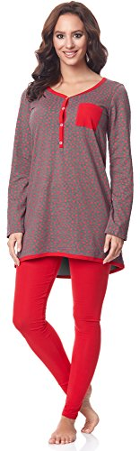 Be mammy pigiama a manica lunga funzione allattamento be20-178(grigio-stelle-rosso, s)