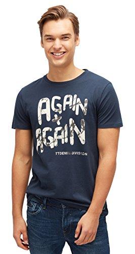 TOM TAILOR Denim Herren T-Shirt Fotoprint Tee Total Eclipse Blue