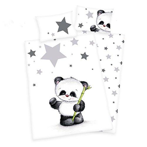 3 tlg. Baby Bettwäsche Wende Motiv Panda renforcé 100x135 cm + 40x60 cm + 1 Spannbettlaken 70x140 cm (mit Laken: weiß)