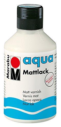 Marabu 11360013000 - Farbloser aqua Mattlack, transparent - matter Acryl - Lack auf Wasserbasis, für Hobby und Freizeit, zum Lackieren vieler Bastelarbeiten und Materialien, 250 ml Flasche -