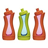 iiamo Sport Eco-Pack, 3 Bottiglia Acqua Bambini e Biberon Acqua per Lo Sport, 380 ml Senza BPA, Bicchieri Salvagoccia