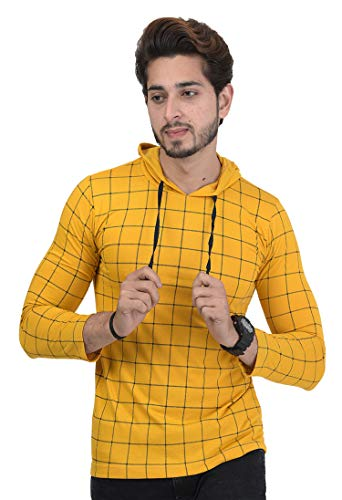 Shaun Men's Cotton Full Sleeve Hooded T-Shirt Yellow