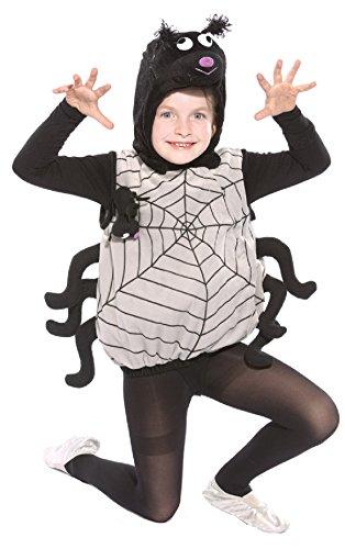 (Oh2020-116-128 schwarz-grau Kinder Spinnen Weste Kostüm Gr.116-128)