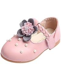 BYSTE Scarpe da Bambina Scarpe da Principessa Perla Fiori Scarpe in Pelle  smerigliata Ballerine Scarpe Singole c72c74803c0