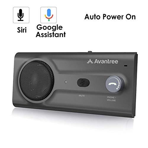Avantree NUEVO Kit Bluetooth Manos Libres para Coche, Conecta con Siri y Asistente Google, Auto Encendido Apagado, Altavoz Inalámbrico para Coche, Potente 2W, Conectividad de Doble Enlace y Clip Visor