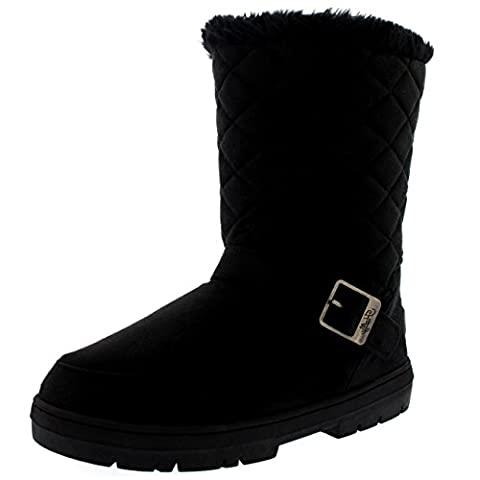 Womens One Buckle Classic Short Quilted Waterproof Winter Snow Rain Boots - Black - 6 - 39 - AEA0244