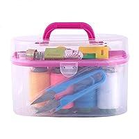 Sewing Kit Tool Box-10pcs/box Large Sewing Box Threader Needle Tape Measure Scissor Thimble Kit Tool for Kids, Adults, Travel, Family Repair(Red)