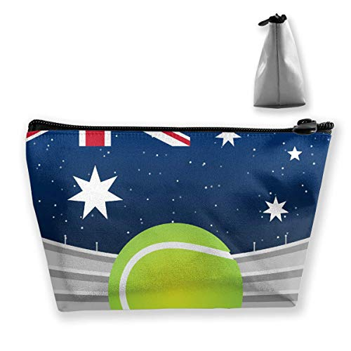 Australian Flag Tennis Makeup Bag Large Trapezoidal Storage Travel Bag Wash Cosmetic Pouch Pencil Holder Zipper -