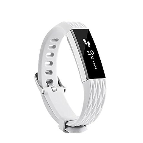 Neueste Fitbit Alta HR und Alta Armband, BeneStellar Einstellbar Köper Ersatz Armband für Fitbit Alta hr and Alta Band mit Metallschließe (01#Silbergray)
