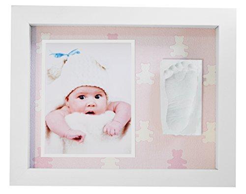 Kit impronta bambino, cornice bianca impronta neonato con portafoto in legno per mani e piedi del bambino - due impronte e cornice foto - una battesimo regalo perfetto bimbo. fondo orsetti rosa