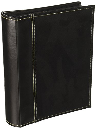 Pioneer Photo Albums 208 Pocket Sewn Faux Suede and Leatherette Cover Album for 4 by 6-Inch Prints, Black by Pioneer Photo Albums