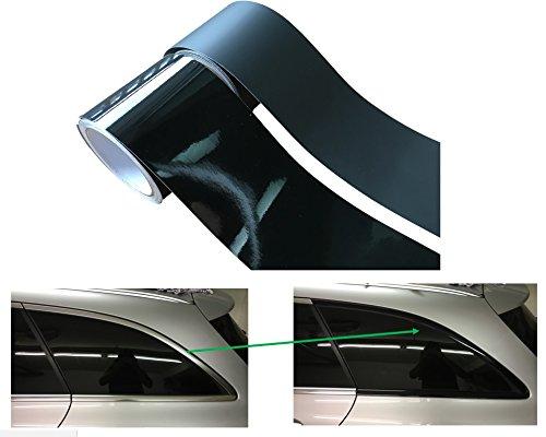10Meter Folie - SELBSTKLEBEND für CHROMLEISTEN selber SCHWARZ machen/selbst Folieren - Auto PKW KFZ - KEIN Lackieren -10cm Breite ROLLE - EINFACHE VERARBEITUNG als Laie - (Glanz-Schwarz)