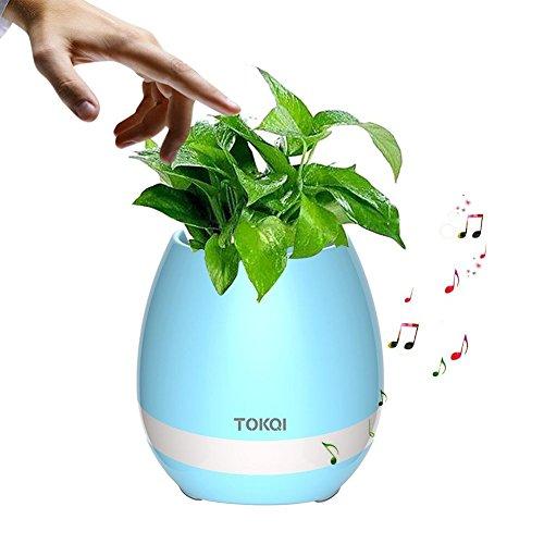 Smart maceta con sistema de música con los dedos planta Piano Música inalámbrica Bluetooth altavoz batería LED colorido luz nocturna para oficina decoración del hogar, azul