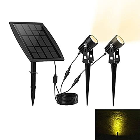 KEYNICE Solar Powered Security Spotlight IP65 Waterproof LED Solar Powered Outdoor Garden Solar lights with 2 Warm White Outdoor Landscape Lighting for Outdoor/Garden/Courtyard/Lawn-Black