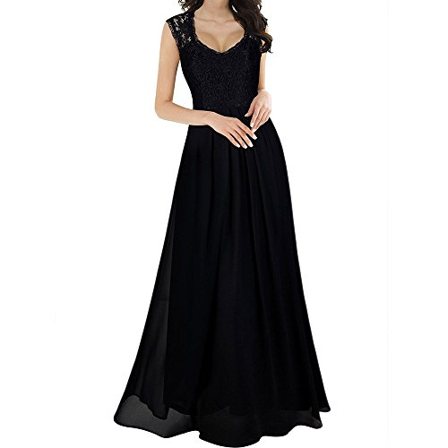 Frenchenal Femme Robe,Élégante Robe de Soirée Longue pour Mariage sans Manches Col Rond Demoiselle d'honneur Empire Princesse Robe Longue